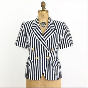 Vintage Tops - ✨Vintage Navy Blue White Striped Blouse Jacket